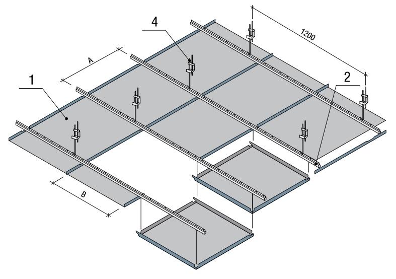 влагостойкий потолок на скрытой подвесной системе